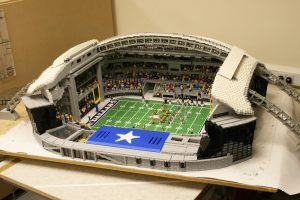 Scale-model LEGO build by LEGOLAND Windsor, of the AT&T Stadium in Dallas, Texas