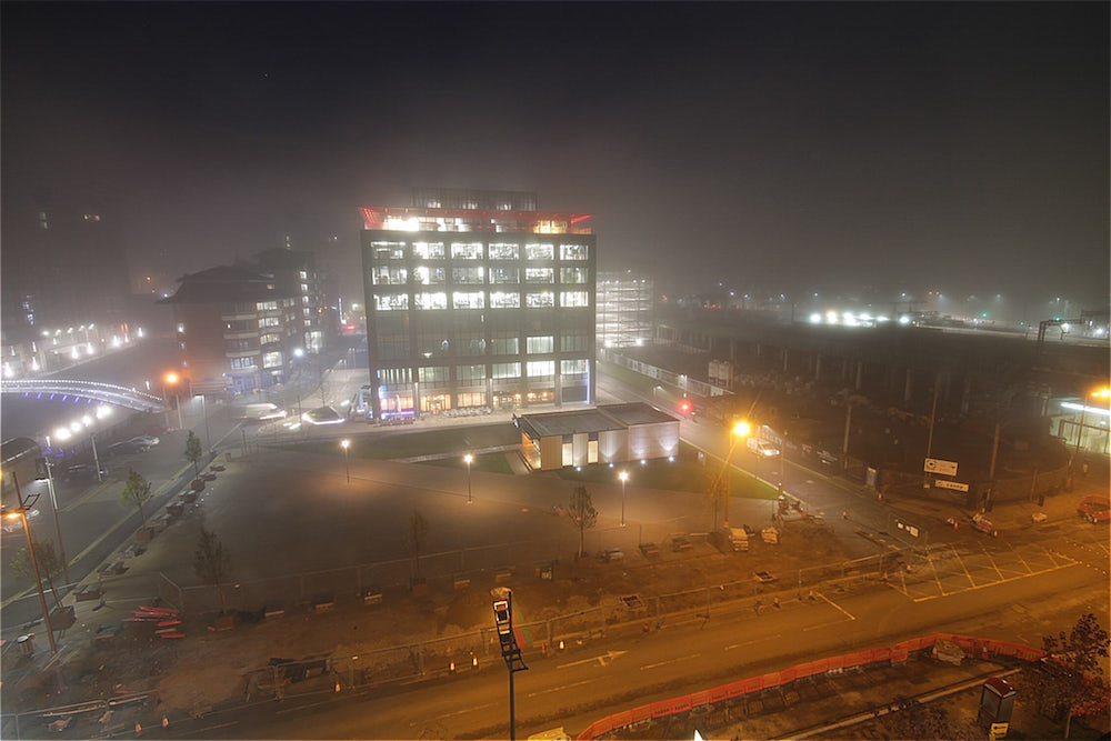 New Bailey, Manchester covered in fog.
