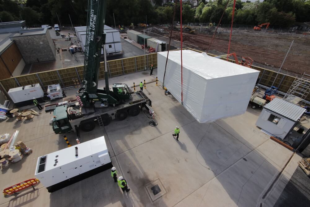 Complex manoeuvres involved in transporting one of Weatherite's modular bio-fuel plant rooms in Chipping Sodbury.