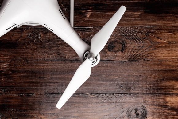 Close-up of a white drone propeller.