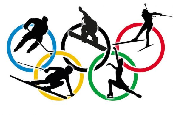 The Olympic Rings representing the Winter Olympics in Sochi.