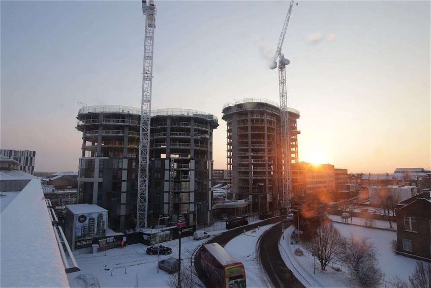 Sunrise over construction at 360 Barking.