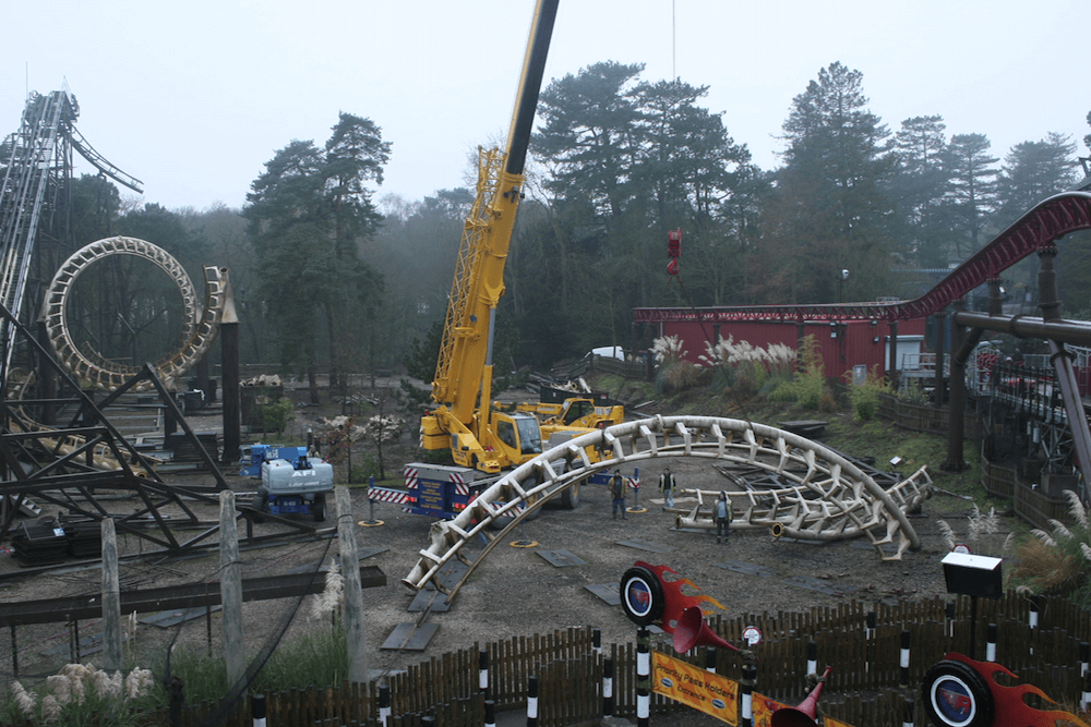 Time-lapsing the demolition of the Corkscrew at Alton Towers.