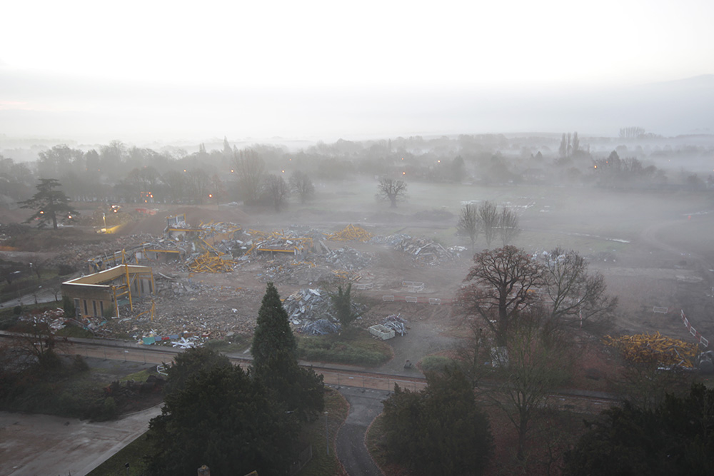 Fog hanging over a demolition project in the East of England
