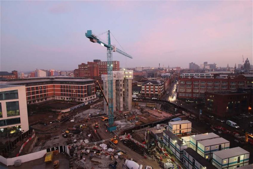 'Magic hour' over an MEPC construction site in Leeds.