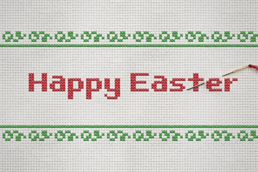 'Happy Easter' cross-stich design.