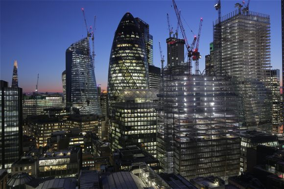 An example of tilt-shift time-lapse capture in London, with the sun setting behind high-rise buildings