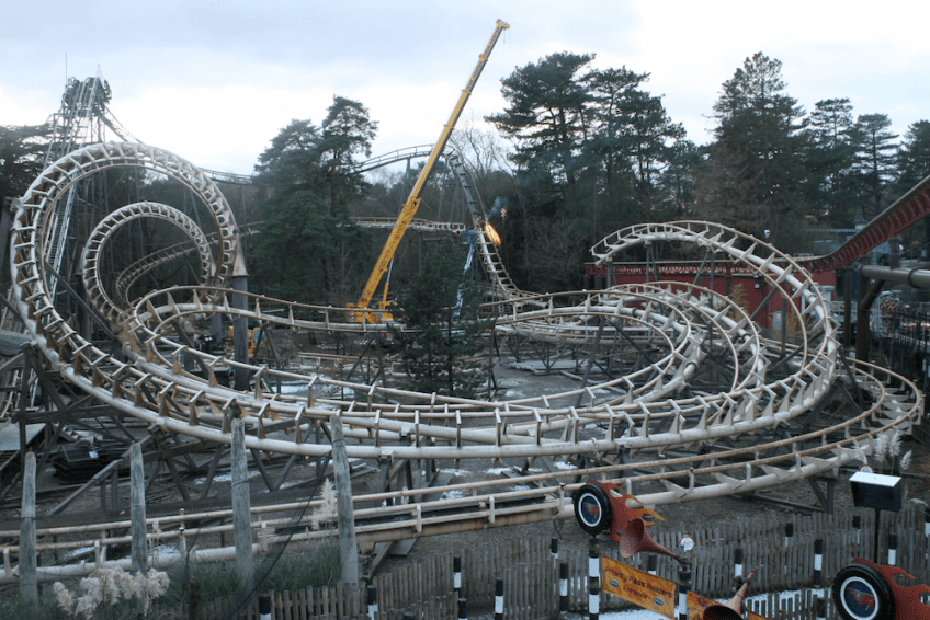 The iconic Corkscrew roller coaster before its demolition at Alton Towers.