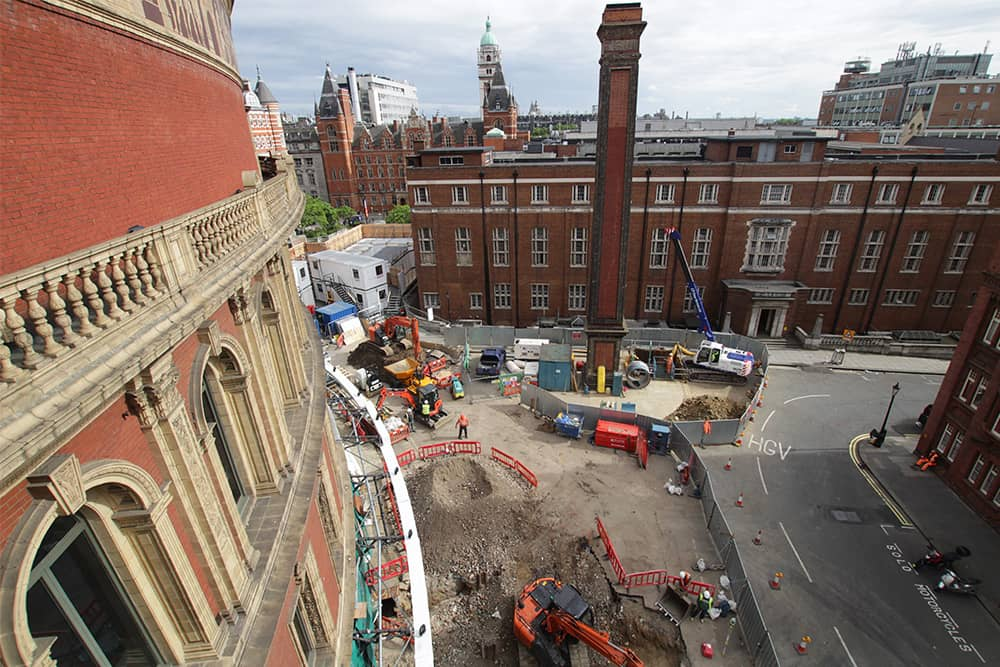 Construction site outside the Royal Albert Hall as part of The Great Excavation project