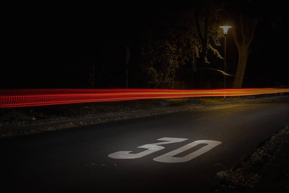 A car's headlight trail caught using a time-lapse camera.