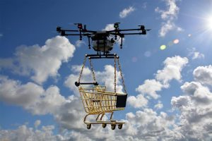 A logistics drone takes to the skies.