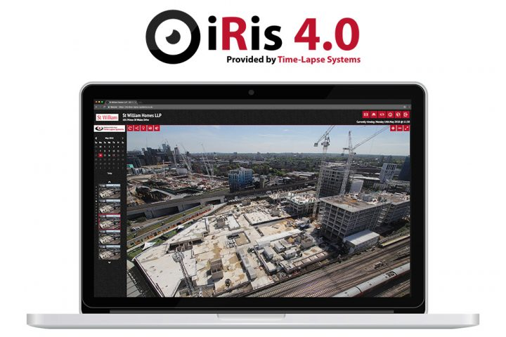 The brand new iRis 4.0 time-lapse and site monitoring portal, displayed on a laptop