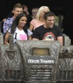 Celebrity Katie Price riding Th13teen at Alton Towers