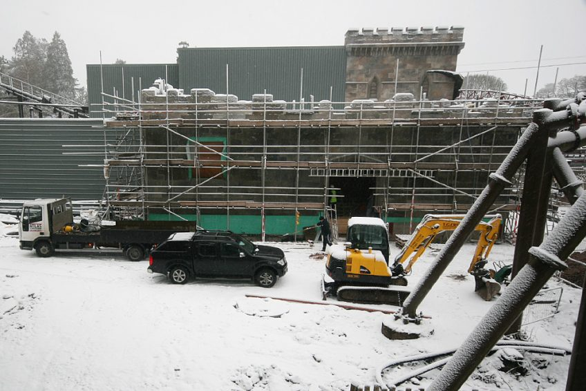 Th13teen being constructed in snowy weather at Alton Towers