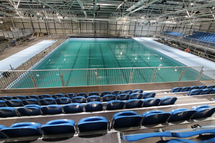 Temporary synchronised swimming pool at Scotstoun Campus, Glasgow, ahead of the 2018 European Championships