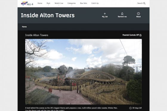 Screenshot of Wicker Man ride time-lapse from Alton Towers Resort documentary Inside Alton Towers broadcast on Channel 4