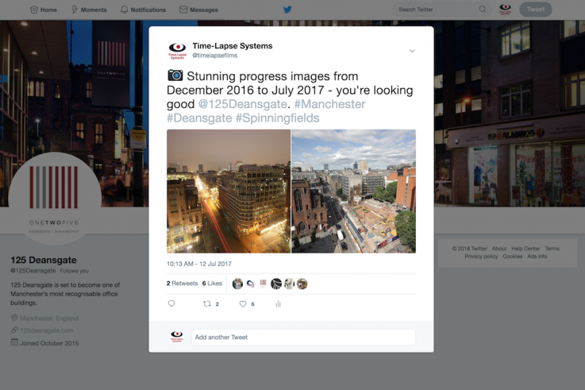 Our time-lapse images shared on Twitter by 125 Deansgate.
