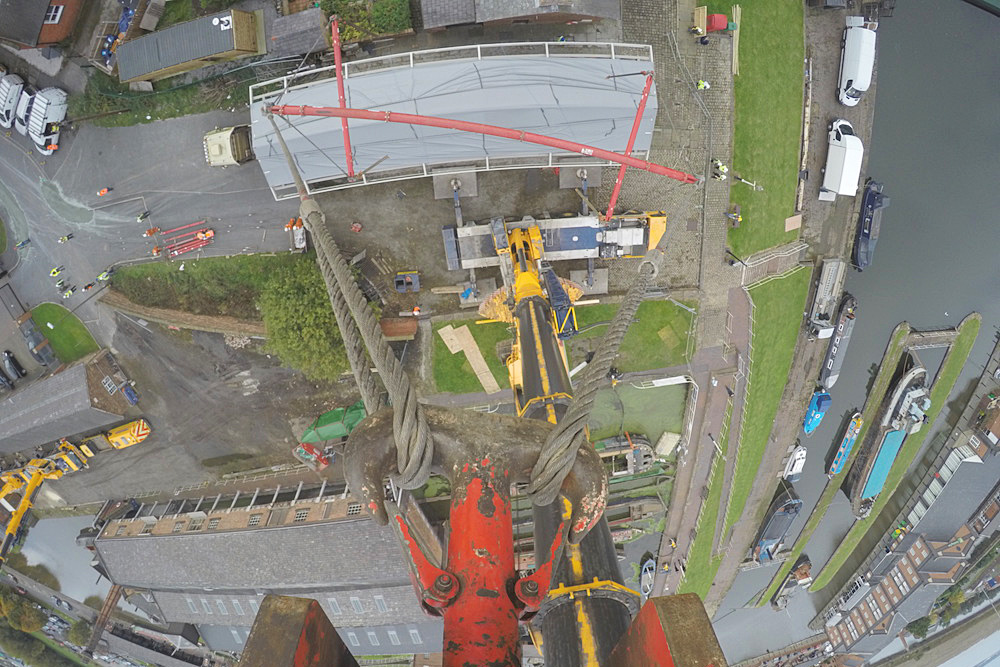 Time-lapse camera position from atop a crane during National Waterways Museum boat lift