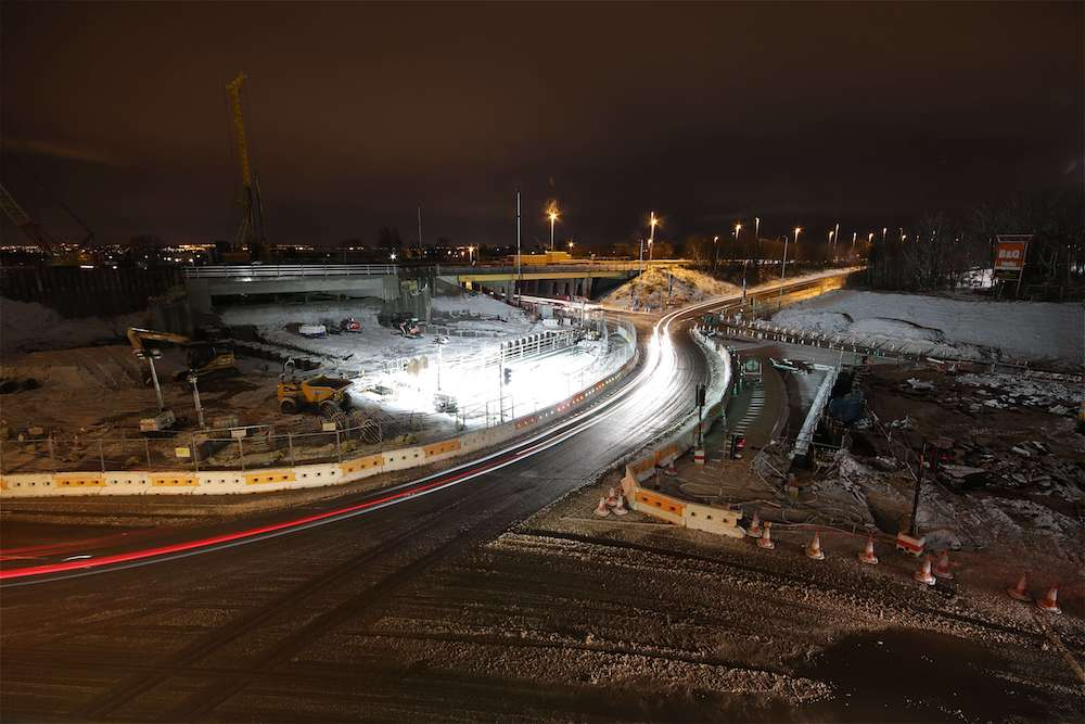 Time-lapse capture of road improvement works in challenging outdoor conditions.