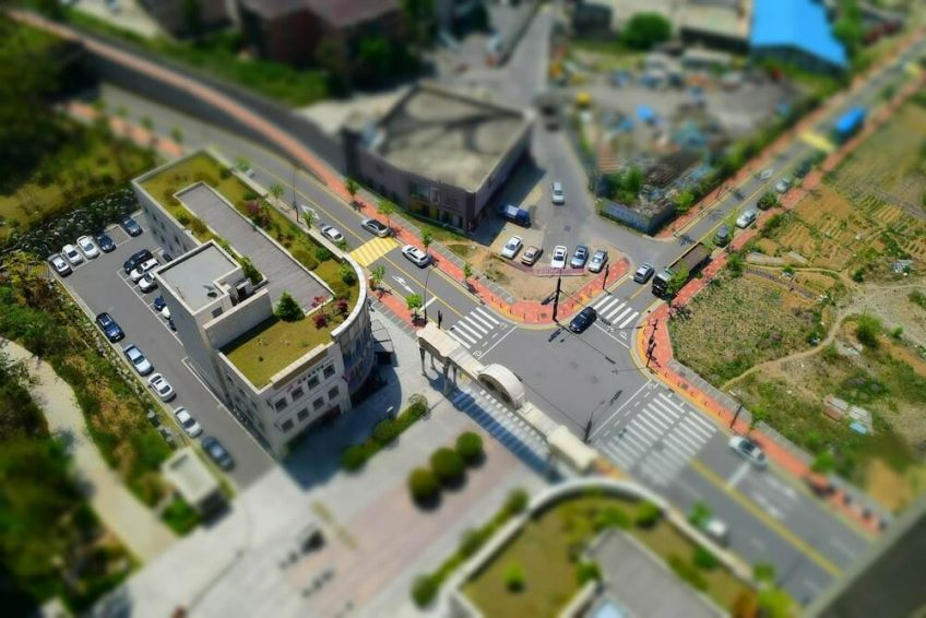 Aerial city view with added tilt-shift.