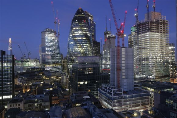 The London cityscape at blue hour, captured by a time-lapse camera system.
