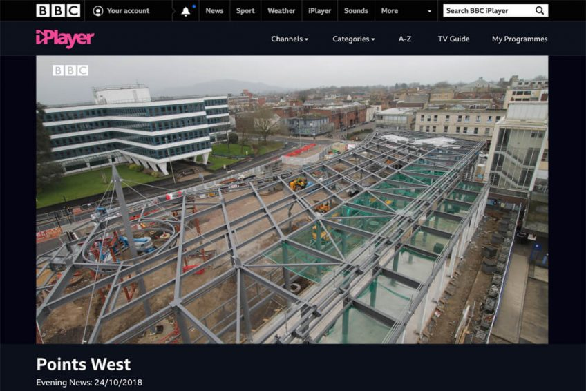 Screenshot from BBC iPlayer showing time-lapse video footage from Gloucester's new bus station, as part of local news programme Points West