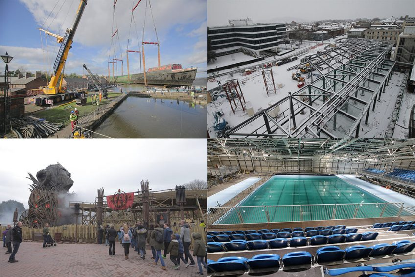 A collection of feature images from time-lapse UK projects in 2018, including the Wicker Man and the European Championships