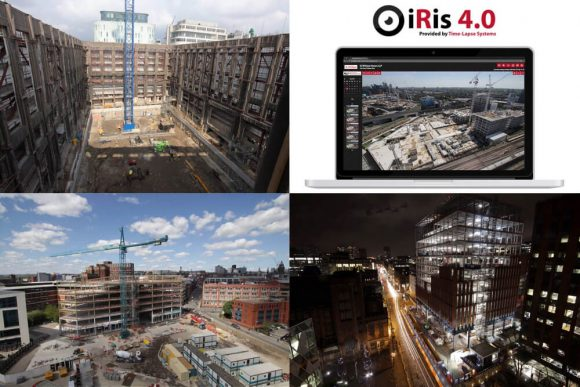 Four selected images demonstrating construction projects in London, Leeds and Manchester, and the launch of iRis 4.0
