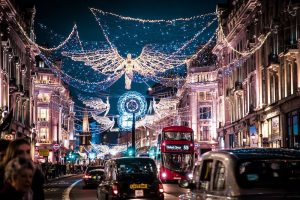 The iconic Regent Street in the City of London at Christmas time.