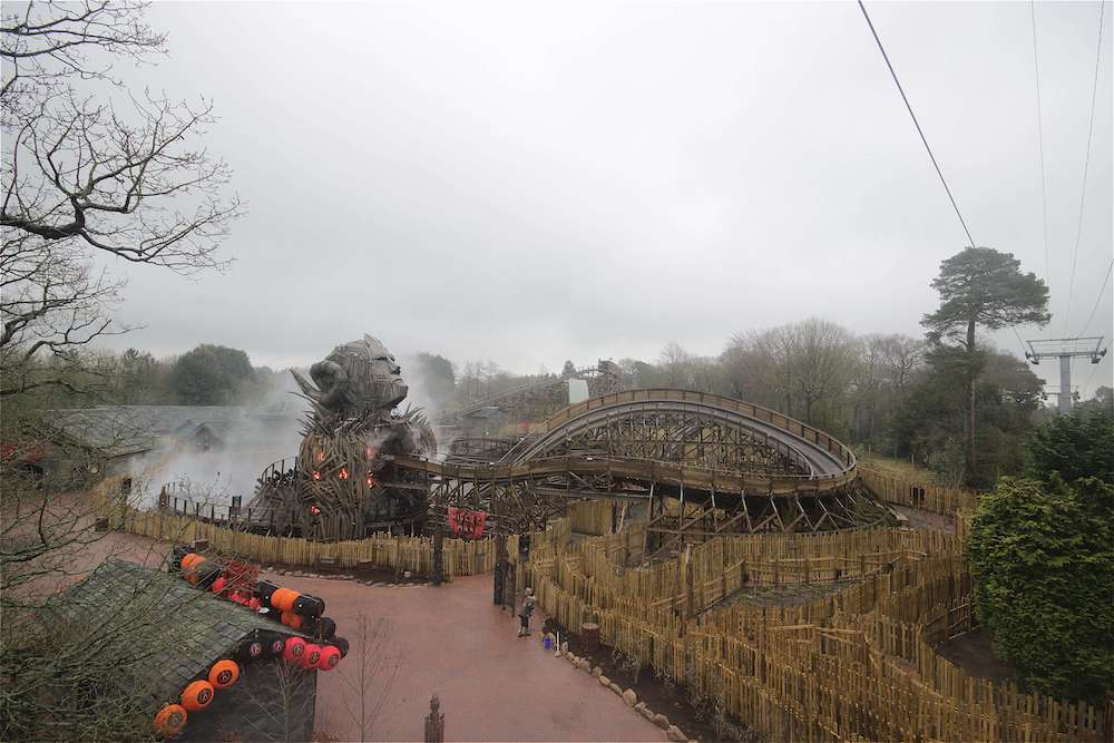 The Wicker Man roller coaster ride at Alton Towers during construction.