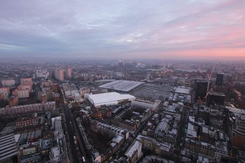 Sunrise over Euston Station and the surrounding Central London area, overlooking the ongoing HS2 works on multiple construction sites