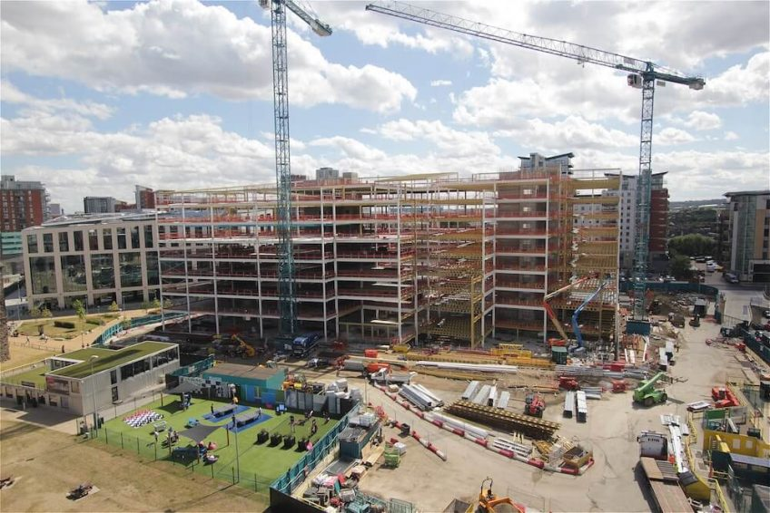 Ongoing construction works on a major office build in Leeds, UK.