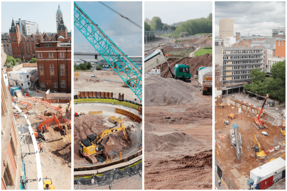 Image collage of four pre-construction projects in our time-lapse archives.