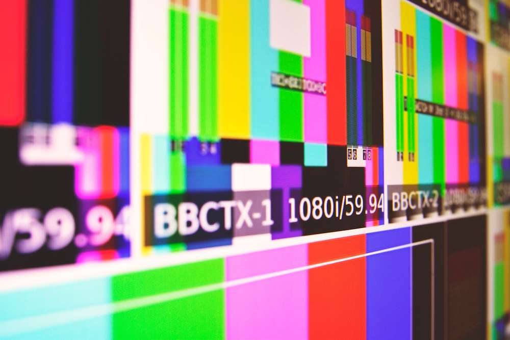 BBC TV colour bars screen.