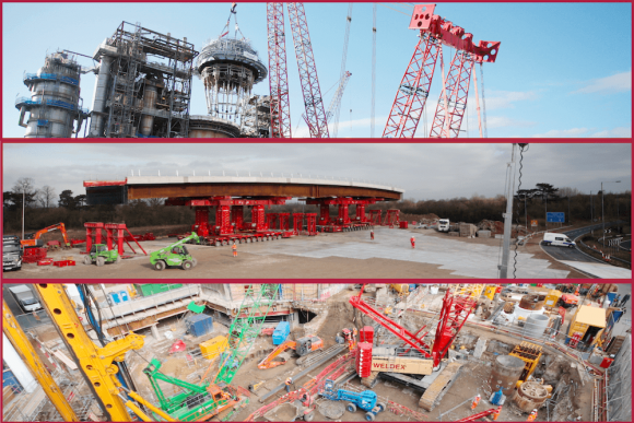 Montage of time-lapse construction images featuring complex machinery.