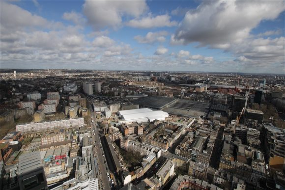 A high-angled perspective over the HS2 Euston site in London.