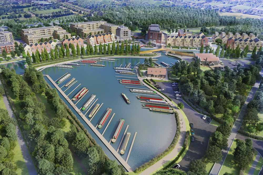 Aerial CGI image envisaging the completed Campbell Wharf development in Milton Keynes.