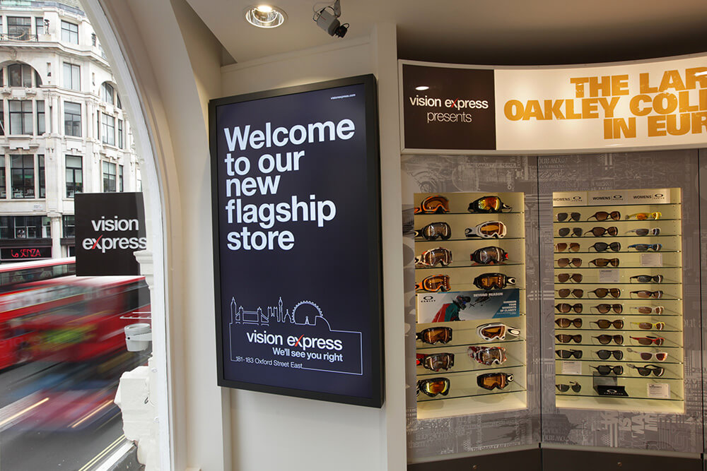 Rapid capture time-lapse window shot of Vision Express's flagship Oxford Street store.