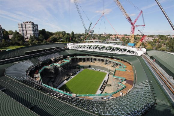 View of exterior redevelopment at Wimbledon's Court No.1.