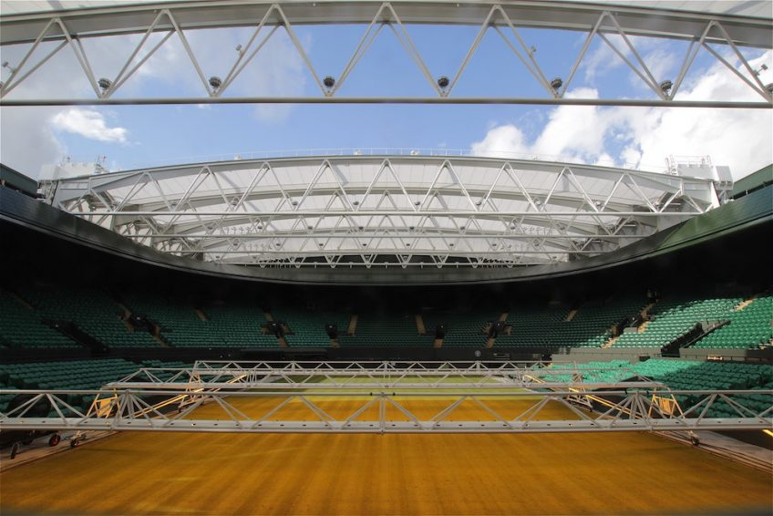Time-lapse image overlooking Wimbledon's roof redevelopment for Court No.1.
