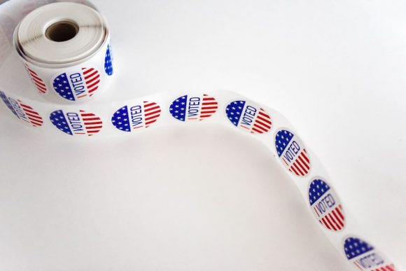 A roll of 'I Voted' USA election stickers.