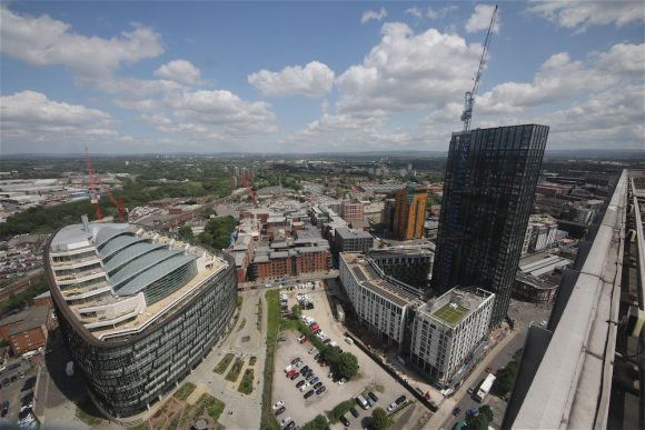 View over MODA's Angel Gardens in Manchester, one of our Northern Powerhouse time-lapse construction projects.