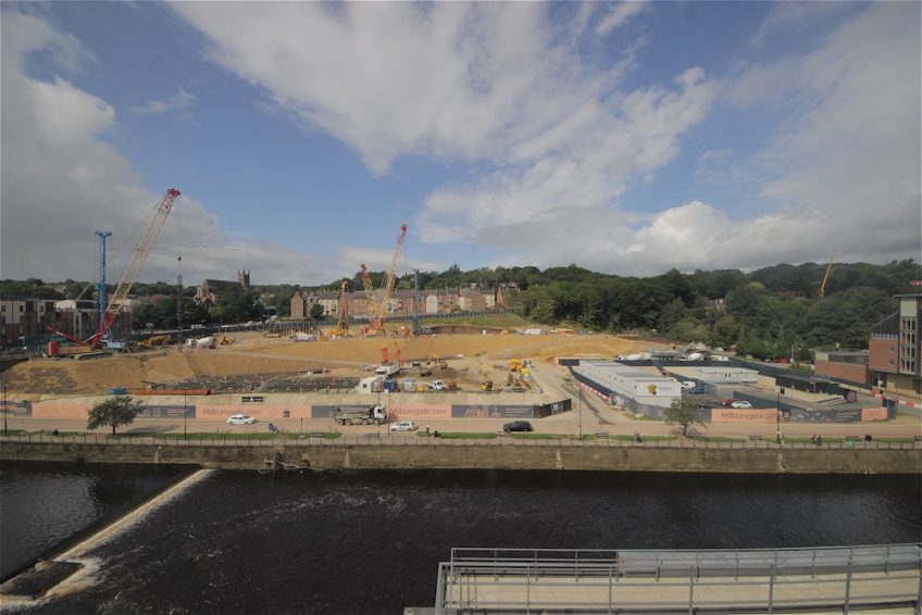 Construction progress on Durham-based Milburngate site, initiated by main contractor Tolent.