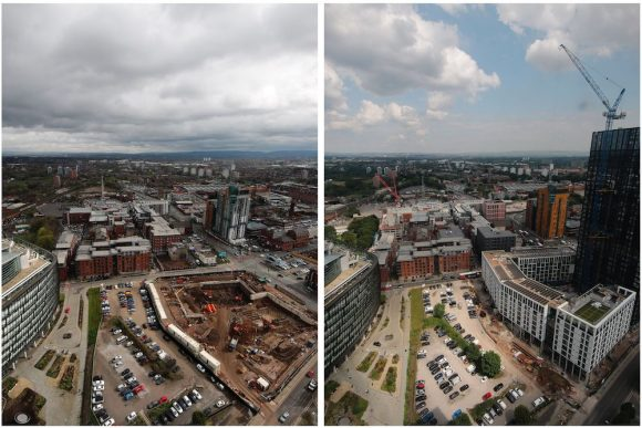 Time-lapse images of a Manchester-based construction project, taken months apart.