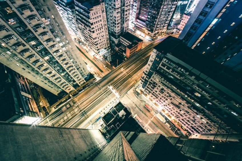 Aerial photography looking down on the city streets of Hong Kong.