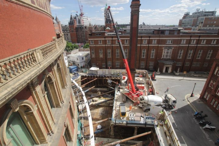 Time-lapse capture of the Royal Albert Hall's 'Great Excavation' project, major construction works in preparation for the venue's 150th anniversary celebrations in 2021.