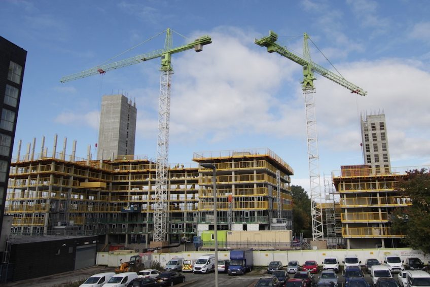 Cranes work above the multi-tower Norton Street student accommodation development in Liverpool