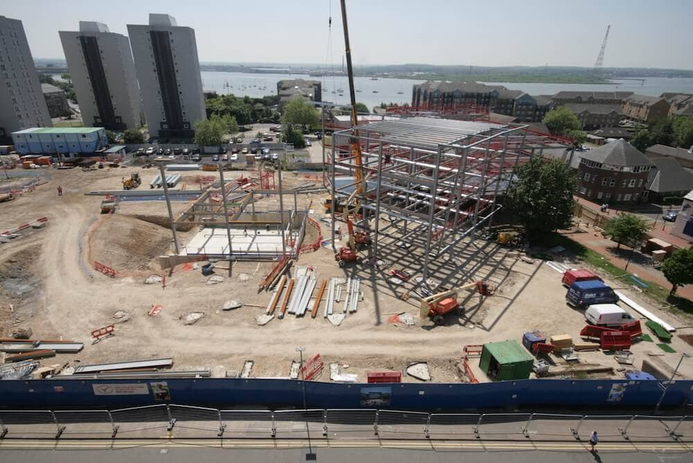 Steel erection at South Essex College